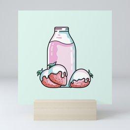 Cute Strawberry Milkshake Mini Art Print