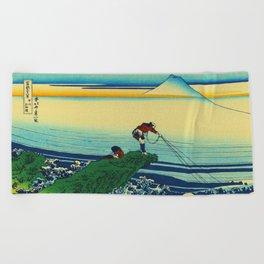 Vintage Japanese Art - Man Fishing Beach Towel
