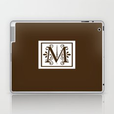 Monogram Letter M on Dark Brown Laptop & iPad Skin