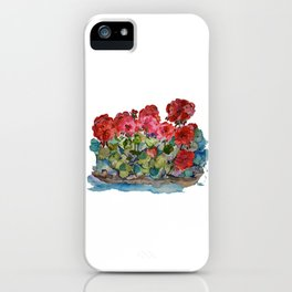 Red Geraniums painting iPhone Case