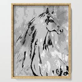 HORSE BLACK AND WHITE Serving Tray