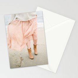 Coastal photography of a woman holding her flowy skirt at the beach. Pastel colored print Stationery Cards