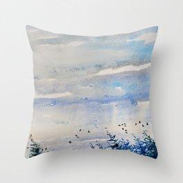 black birds, blue sky Throw Pillow