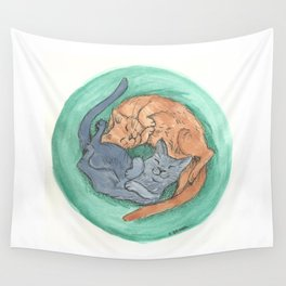 Lazy Cats - Watercolor Wall Tapestry