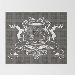 Outlander plaid with Je Suis Prest crest Throw Blanket