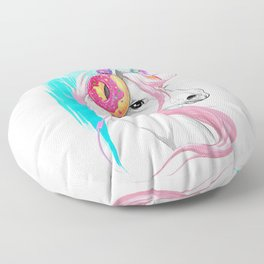 Unicorn in the headphones of donuts Floor Pillow