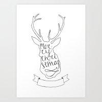 Merry Christmas Deer (1) Art Print