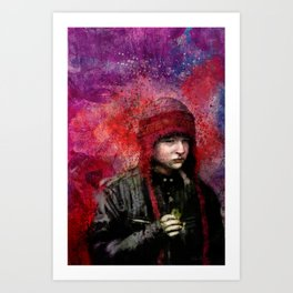 Red Hat With Snack Art Print