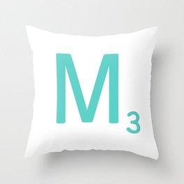 Blue Letter M Scrabble Tiles Throw Pillow