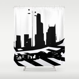 City Scape in Black and White Shower Curtain