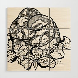 Python and iris flowers Wood Wall Art