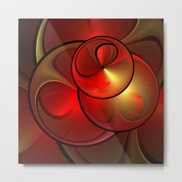 Shining Golden Red Fractal With Warmth Metal Print