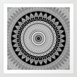 Black and White Mandala Two Art Print