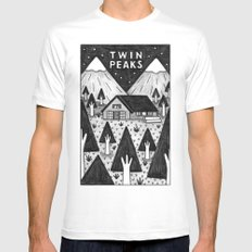 Twin Peaks White LARGE Mens Fitted Tee
