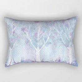 Dreamy Blue Flower Trees Rectangular Pillow