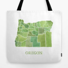 Oregon Counties watercolor map Tote Bag