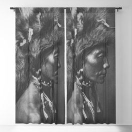 Native American Piegan Warrior, Yellow Kidney, portrait black and white photography Blackout Curtain
