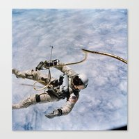 spaceman Canvas Prints featuring SPACEMAN by Planet Prints