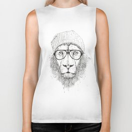 Cool lion (bw) Biker Tank