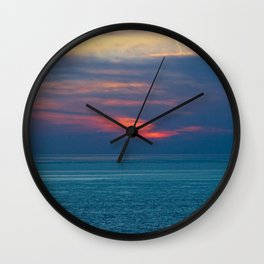 Red Sunset Clouds Peaceful Sea Seascape Skyscape Coastal Panorama Wall Clock