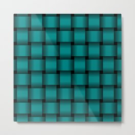 Large Dark Cyan Weave Metal Print