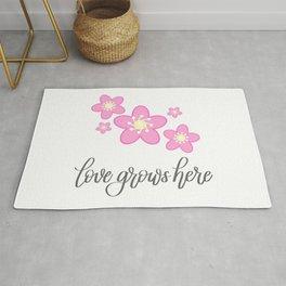 Love Grow Here Pink Cherry Blossom Sakura Flower Modern Calligraphy Lettering Rug