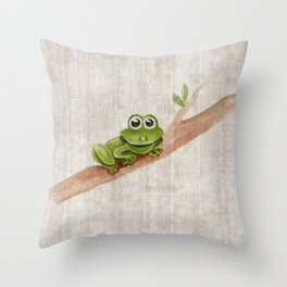 Little Frog, Forest Animals, Woodland Critters, Tree Frog Illustration Throw Pillow
