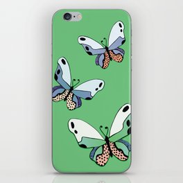 Vibrant Butterflies_Green iPhone Skin