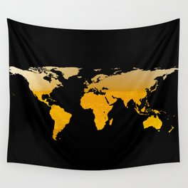 World Map Silhouette - Beer Wall Tapestry