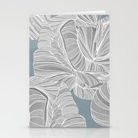 gray pattern Stationery Cards featuring Gray Roses Pattern - Blue  by Sweet Karalina