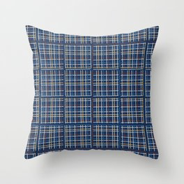 Navy Blue Criss Cross Weave Hand Drawn Vector Pattern Background Throw Pillow