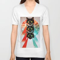 hippy V-neck T-shirts featuring Hippy Cats by Lauren Miller
