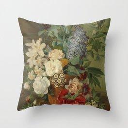 Albertus Jonas Brandt - Flowers in a terra cotta vase Throw Pillow