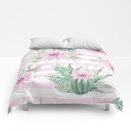 Rose Stripe Succulents - Pink and Mint Green Cactus Pattern Comforters