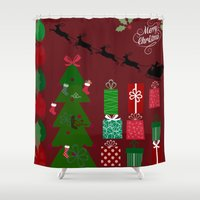 xmas Shower Curtains featuring Xmas by JuniqueStudio