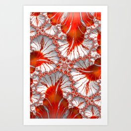 Red and White Fractal Abstract Art Print