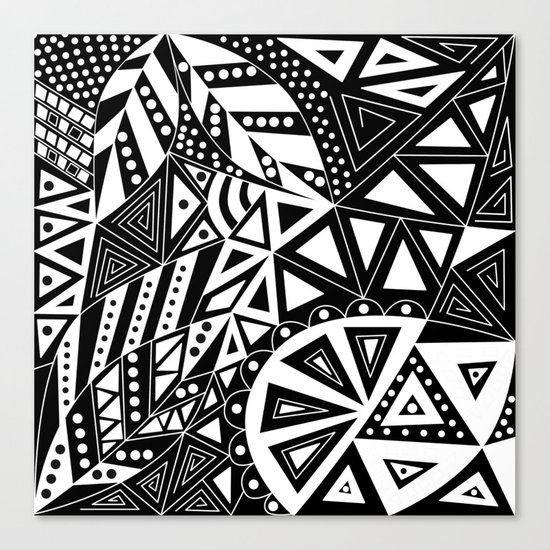 Black and white abstract pattern. 1 Canvas Print