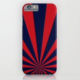 Retro dark blue and red sunburst style abstract background. iPhone Case