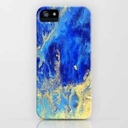 Gold & blue abstract no.171008 iPhone Case