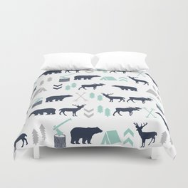 Camper pattern minimal nursery basic grey navy mint white camping cabin chalet decor Duvet Cover