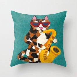 Calico Cat Saxophone Player Throw Pillow