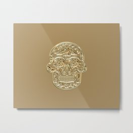 Skull Design With Gold Embossing Effect Metal Print