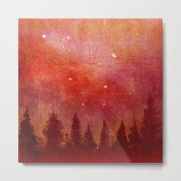 Landscape Neck Gator Treeline at Night Forest Metal Print