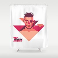 brussels Shower Curtains featuring Past Action Heroes - Muscles from Brussels by Davide Mazzuchin
