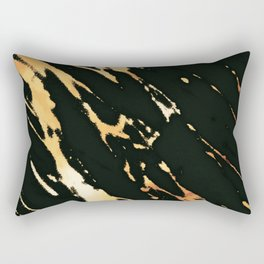 Black Copper Bronze Marble Rectangular Pillow