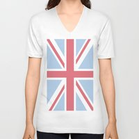 union jack V-neck T-shirts featuring Union Jack by Alesia D