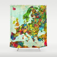 europe Shower Curtains featuring Europe Splatter Map by Gary Grayson
