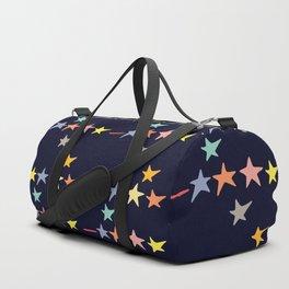 Colorful falling stars by night pattern Duffle Bag