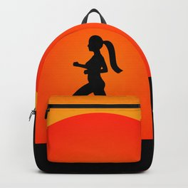 Running woman in the beach Backpack