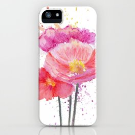 Colorful Watercolor Poppies iPhone Case